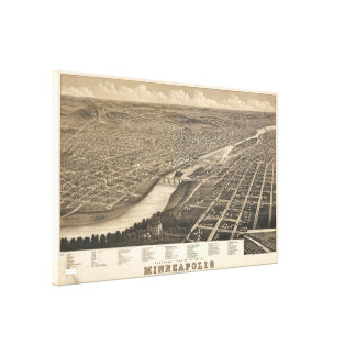 Carte imagée vintage du manganèse de Minneapolis Toile