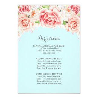 Carte Insertion bleue florale rustique rose de direction