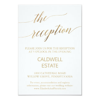 Carte Insertion élégante de réception de calligraphie