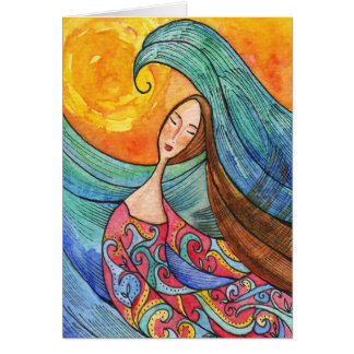 Carte inspirée de femme et de mer