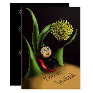 """Carte """"Invitation"""" 5"""" d'anniversaire de coccinelle x 7"""""""