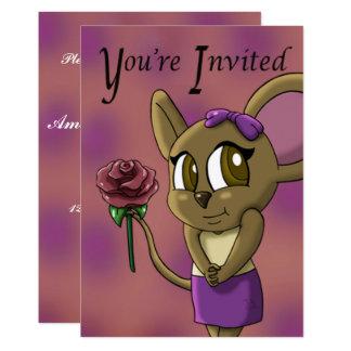 """Carte """"Invitation"""" 5"""" d'anniversaire de Cutie de souris"""