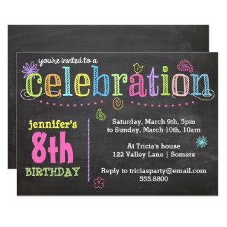 Carte Invitation-Craie de fête d'anniversaire + Néon