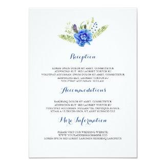 Carte Invité floral bleu de l'information de mariage