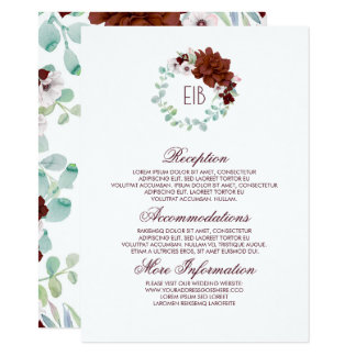 Carte Invité floral de l'information de mariage de