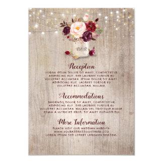 Carte Invité floral rustique de l'information de mariage