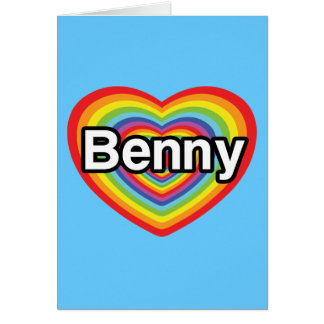 Carte J'aime Benny : coeur d'arc-en-ciel