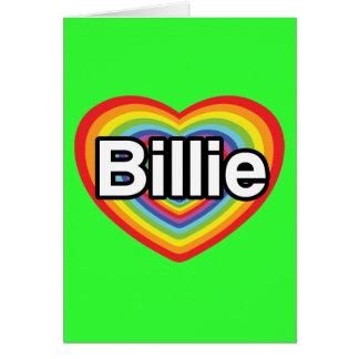 Carte J'aime Billie : coeur d'arc-en-ciel