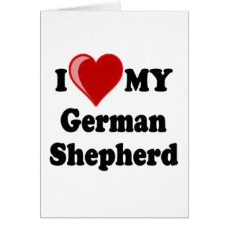 Carte J'aime (coeur) mon chien de berger allemand