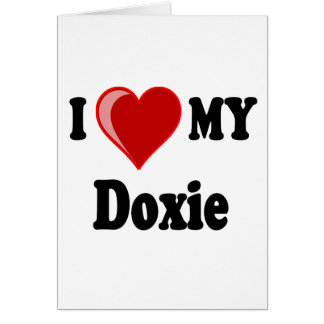 Carte J'aime (coeur) mon chien de Doxie