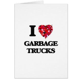 Carte J'aime des camions à ordures