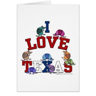 Carte J'aime les tatous Texas-Colorés