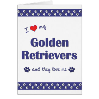 Carte J'aime mes chiens d'arrêt d'or (les chiens
