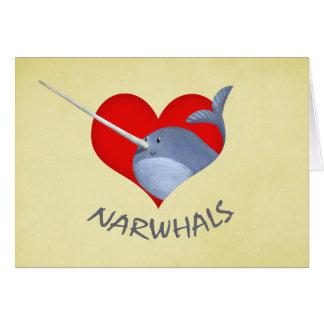 Carte J'aime Narwhals