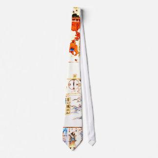 Carte japonaise 1800 du monde cravate