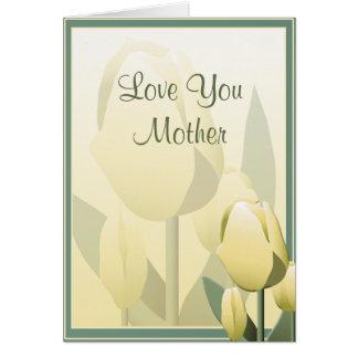 Carte jaune de belle tulipe de ressort de jour de carte de vœux