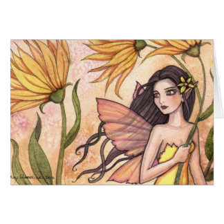Carte jaune de fée de fleur sauvage