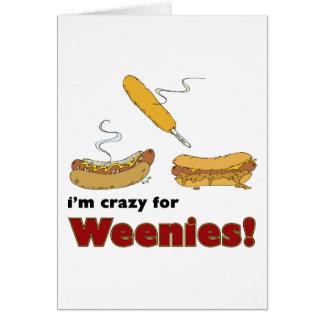 Carte Je suis fou pour des Weenies ! Hot-dog de piment