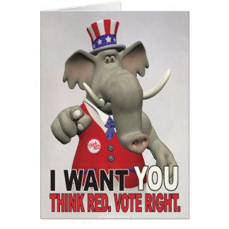 Carte Je vous veux - pensez la droite rouge de vote