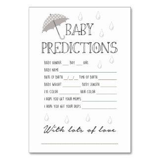 Carte Jeu de prévisions de bébé pour le baby shower