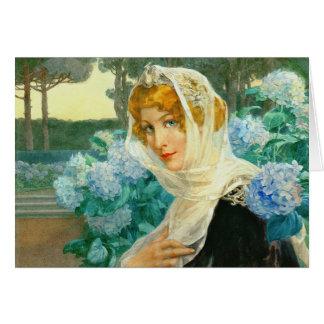 Carte Jeune femme avec les hortensias 1900