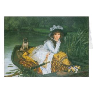 Carte Jeune femme dans un bateau