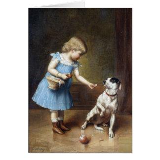 Carte Jeune fille alimentant un chien par Karl Reichert