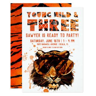 Carte Jeune, sauvage et trois | punk tigre