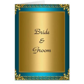 Carte Jeunes mariés de Teal d'or de mariage