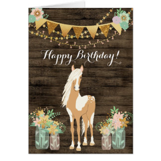 Carte Joli cheval et anniversaire en bois rustique de