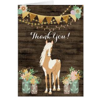 Carte Joli cheval et Merci en bois rustique de fleurs