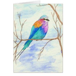 Carte Joli oiseau, rouleau lilas de Breasted, art
