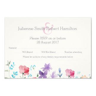 Carte Jolie aquarelle de fleurs sauvages épousant la