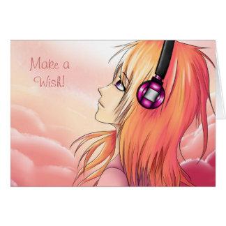 Carte Jolie fille d'Anime au coucher du soleil