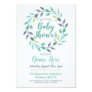 Carte Jolie guirlande de feuille d'Aqua d'invitation de
