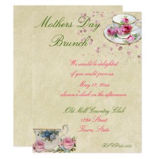 Carte Jolies tasses de thé, jour de mère ou brunch de