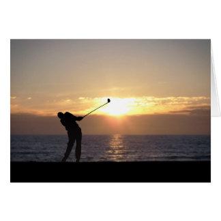 Carte Jouer au golf au coucher du soleil