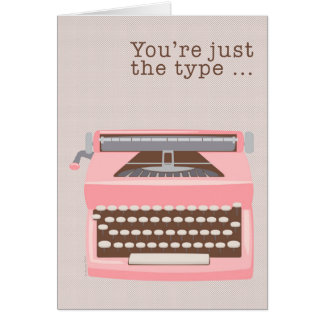 Carte Jour d'Admin de rétro machine à écrire rose de mod