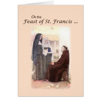 Carte Jour de fête béni de St Francis avec St Clare