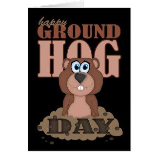 Carte Jour de Groundhog avec la bande dessinée mignonne