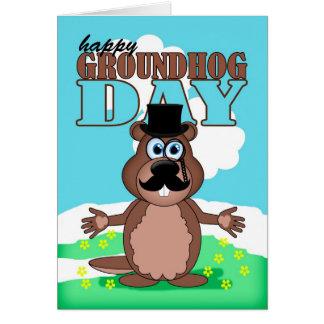 Carte Jour de Groundhog de moustache de moustache avec