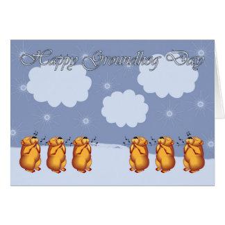 Carte Jour de Groundhog heureux sifflant Groundhogs