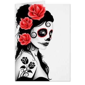 Carte Jour de la fille morte de crâne de sucre - blanc