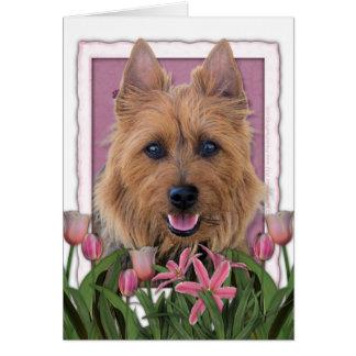Carte Jour de mères - tulipes roses - Terrier australien