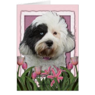 Carte Jour de mères - tulipes roses - Terrier tibétain
