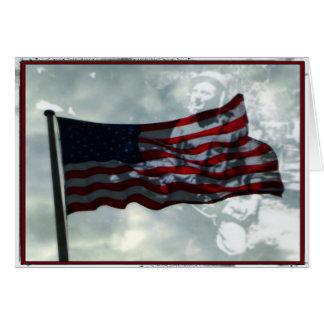 Carte Jour de vétérans, drapeau américain et vétéran de