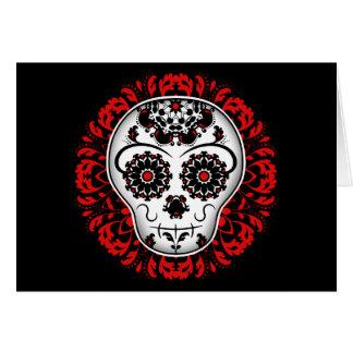 Carte Jour Girly du crâne mort de sucre rouge et noir
