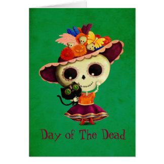 Carte Jour mexicain mignon de la fille morte