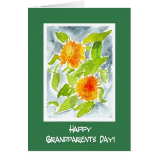 Carte Jour orange lumineux de grands-parents de soucis