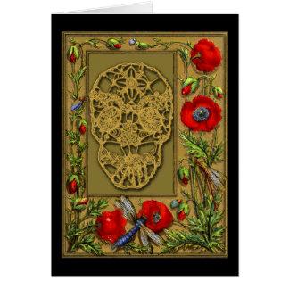Carte Jour palmé de crâne du Halloween mort gothique